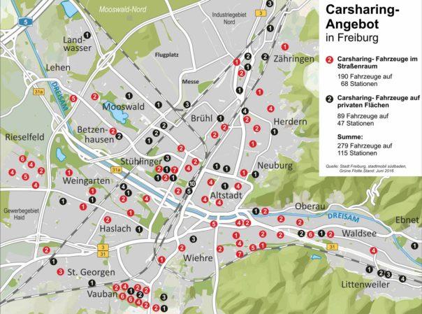 Übersicht Carsharing-Stationen 06.2016
