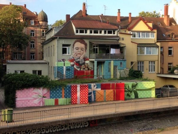 Graffito Dreisam Leo-Wohlebbrücke