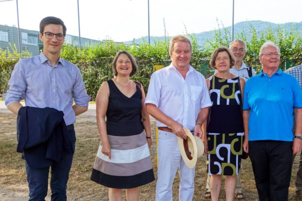 Oberbürgermeister Horn, Regierungspräsidentin Schäfer, Umweltminister Untersteller, Bürgermeisterin Stuchlik, Dr. Friederich und Hans Lehmann vom Bürgerverein